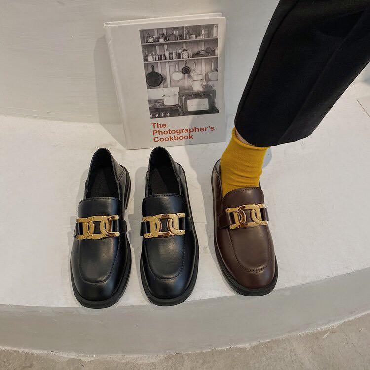 Giày vintage ulzzang TGS123 2 màu Đen - Nâu