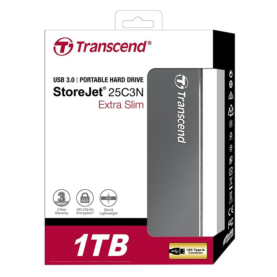 Ổ Cứng Di Động Transcend 1 TB StoreJet C3N Luxury Slim USB 3.1 - Hàng Chính Hãng
