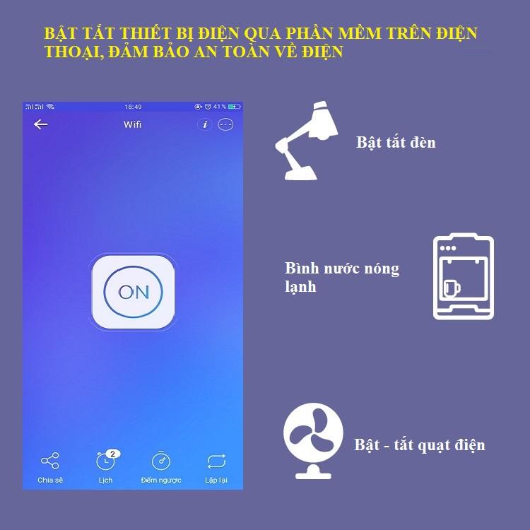Ổ cắm thông minh điều kiển từ xa kết nối Wifi (Tặng kèm miếng thép 11in1)