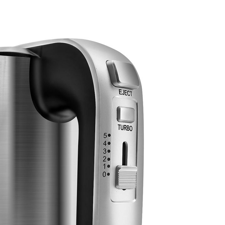 Máy đánh trứng cầm tay HAEGER Turbo 500W, 5 tốc độ cực mạnh trộn bột làm bánh, vỏ inox bền đẹp - Hàng chính hãng