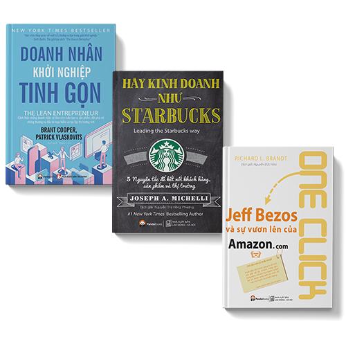 Bộ sách 3 cuốn: Hãy kinh doanh như Starbuck, Jeff Bezos và sự vươn lên của Amazon, Doanh nhân khởi nghiệp tinh gọn