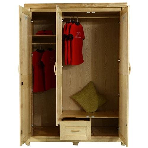 Tủ áo 3 cánh gỗ sồi nga màu tự nhiên