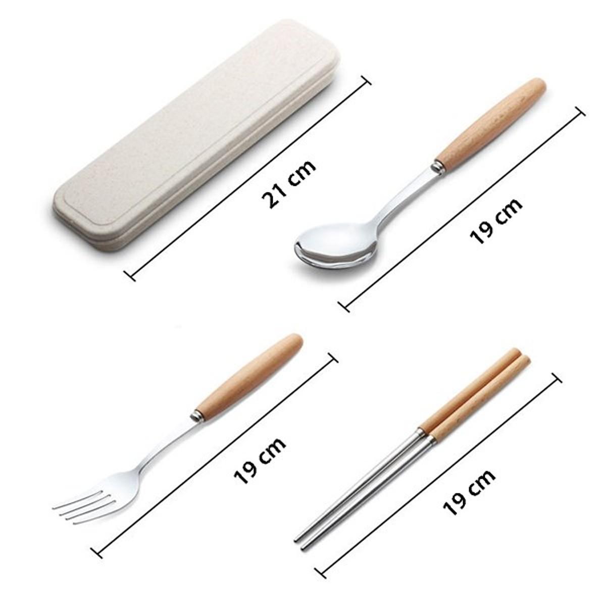 Hộp set 3 đũa thìa dĩa inox tiện lợi