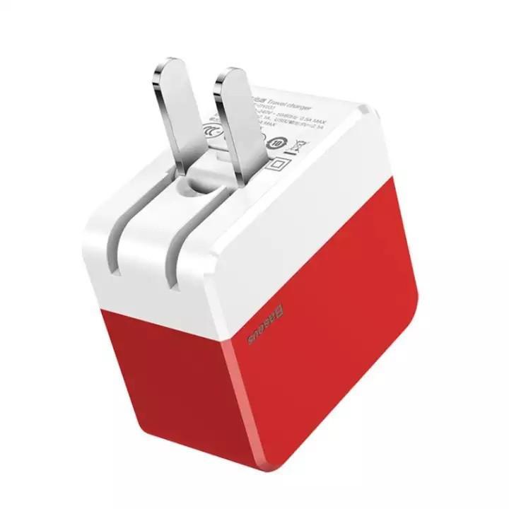 Cốc sạc nhanh cao cấp 2 cổng USB -  Mini Square Dual-U Chager ( 3.4A Max) Baseus - Hàng Chính Hãng
