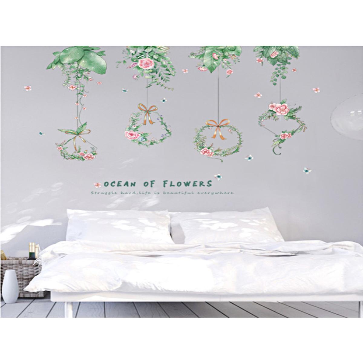 Decal dán tường trang trí phòng ngủ, phòng khách- Lá treo giỏ hoa-mã sp XC9053