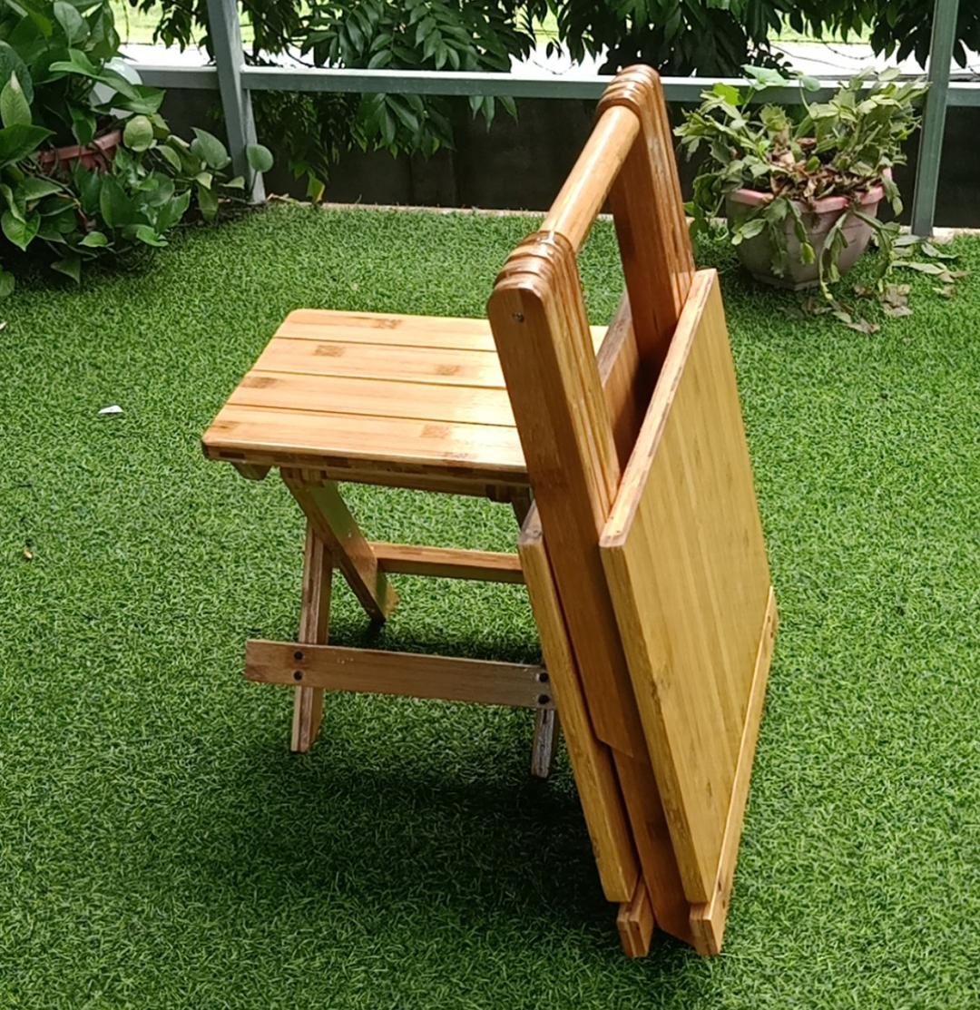 Bộ Bàn Ghế gỗ gấp xếp mini gấp gọn thích hợp đi dã ngoại du lich làm bằng gỗ Tre Tự Nhiên Hàng Việt Nam - Giao màu ngẫu nhiên