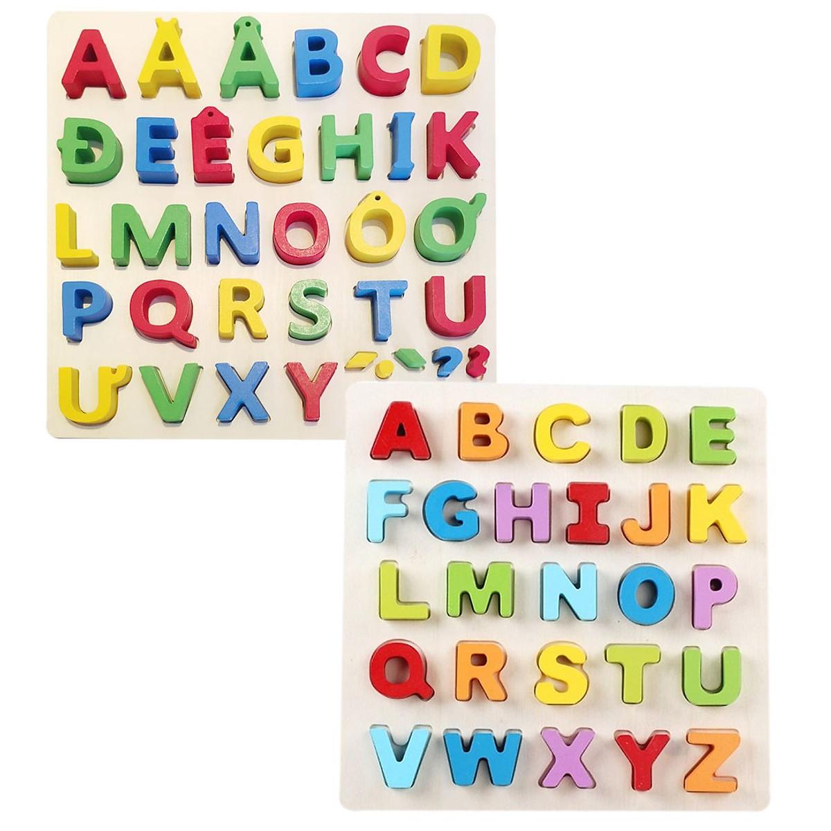 Combo 2 bảng Tiếng Anh và Tiếng Việt Mykids in hoa- đồ chơi trí tuệ  dành cho bé