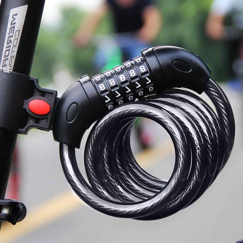 Khóa Dây Xe đạp, xe máy Chống Trộm có mã 5 số bảo mật cao