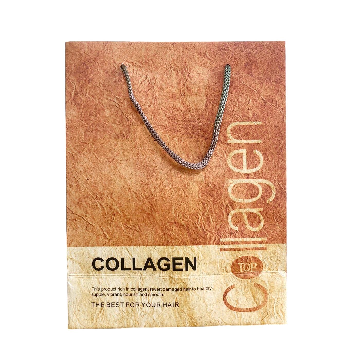 Túi giấy đựng mỹ phẩm quà tặng cao cấp bìa cứng (Màu vàng cam) 21x17x8cm set 20 cái