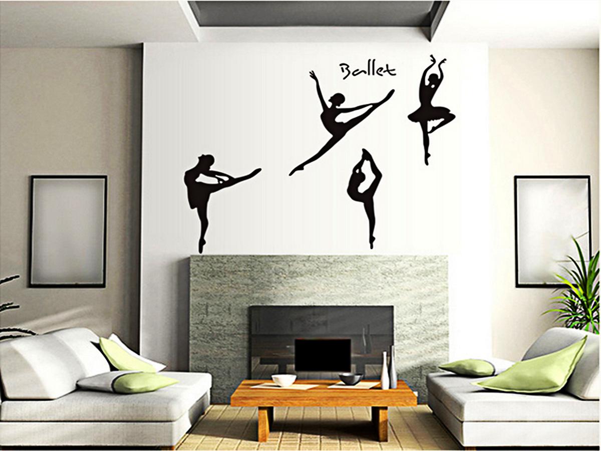 decal dán tường hình vũ công ba lê đen