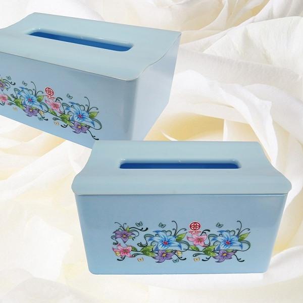 Bộ 2 hộp đựng khăn giấy hoa văn hình chữ nhật (giao màu ngẫu nhiên)