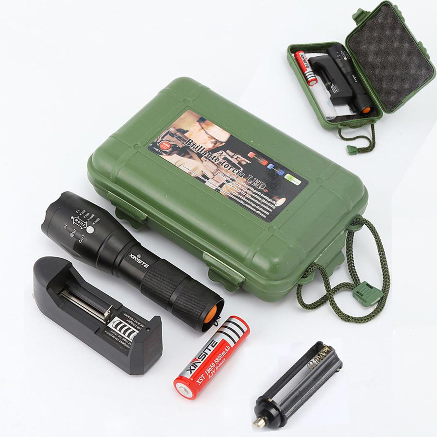 Đèn pin led siêu sáng chiếu xa trăm mét Xinsite L2 cao cấp điều chỉnh được 5 chế độ tầm chiếu sáng và chống nước full bộ đèn sạc pin và hộp chống sốc