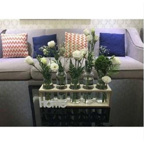 Set 5 lọ cắm hoa trang trí nhà cửa tặng kèm kệ gỗ Home