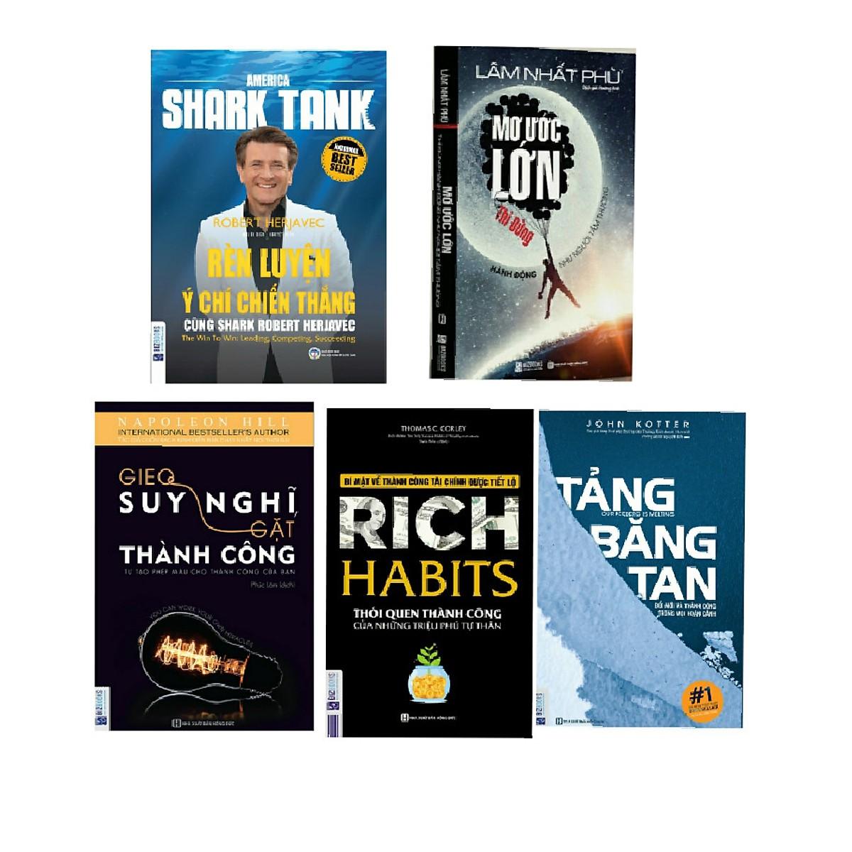 """Combo 5 cuốn sách """" thay đổi thành công trong mọi hoàn cảnh"""" rèn luyện ý chí chiến thắng+mơ ước lớn+ gieo suy nghĩ gặt thành công+rich habits+ tảng băng tan"""