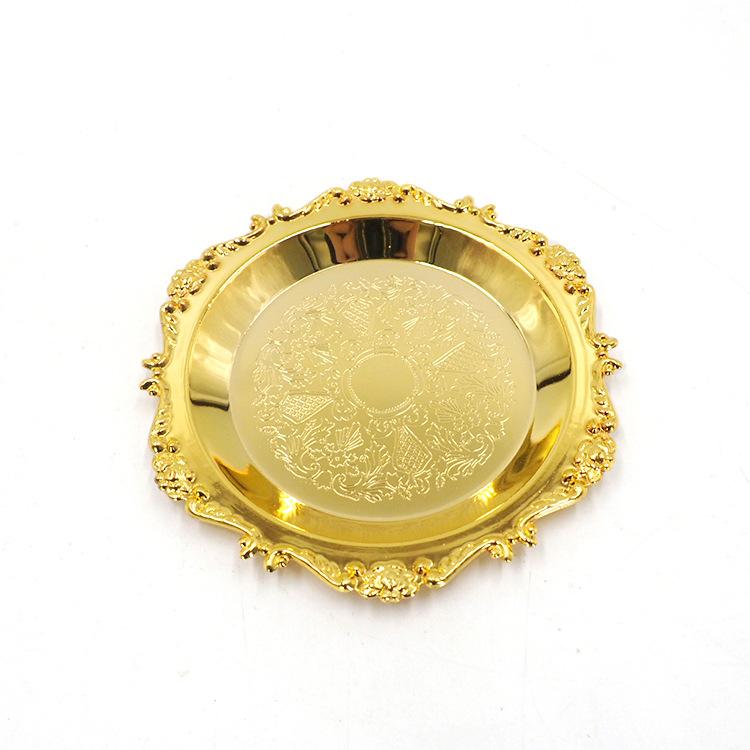 Đĩa Khay Bánh Vàng Bạc Đựng Trái Cây Phong Cách Châu Âu