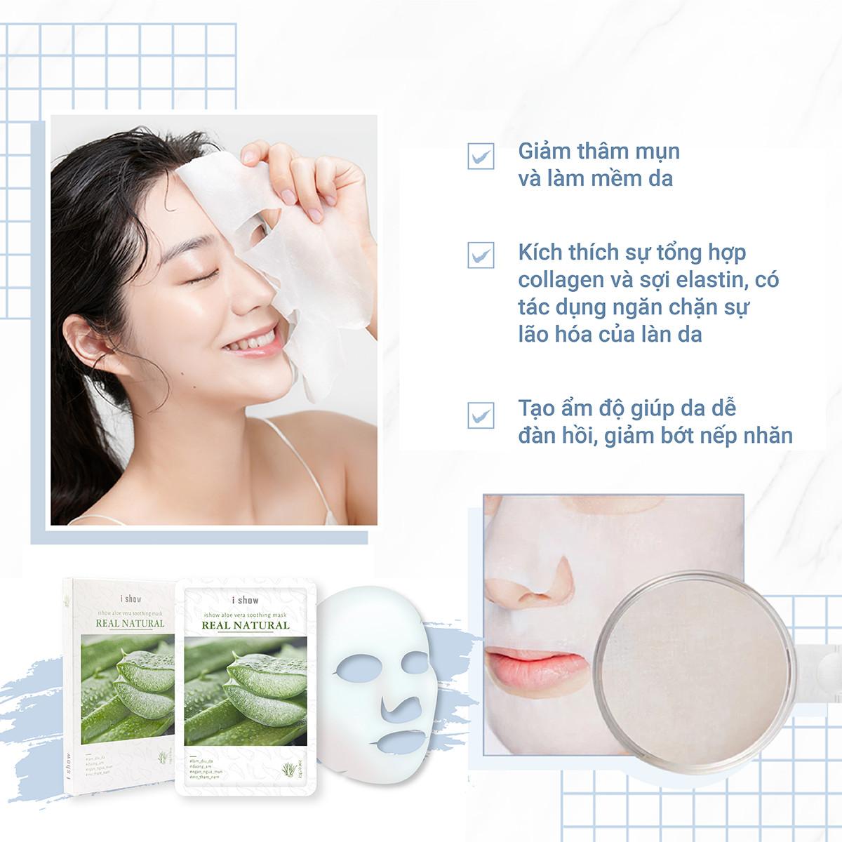 COMBO 2 Hộp Mặt Nạ Dưỡng Ẩm, Ngừa Mụn Da Chiết Xuất Nha Đam ishow Aloe Vera Soothing Mask