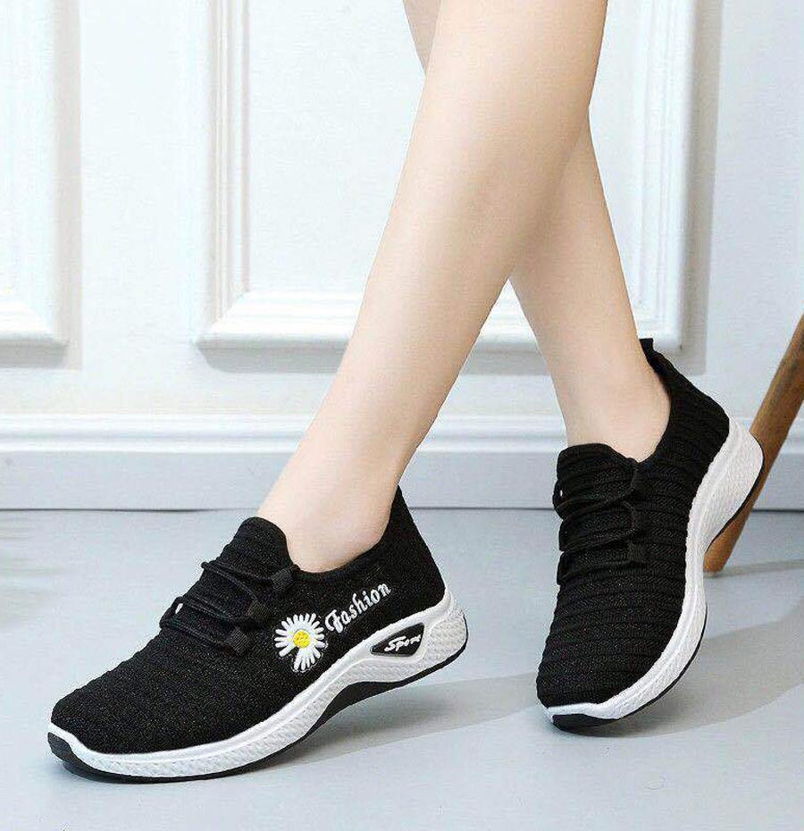 Giày thể thao nữ hoa cúc đi bộ cực êm siêu xinh V253 - Đen - Size 40