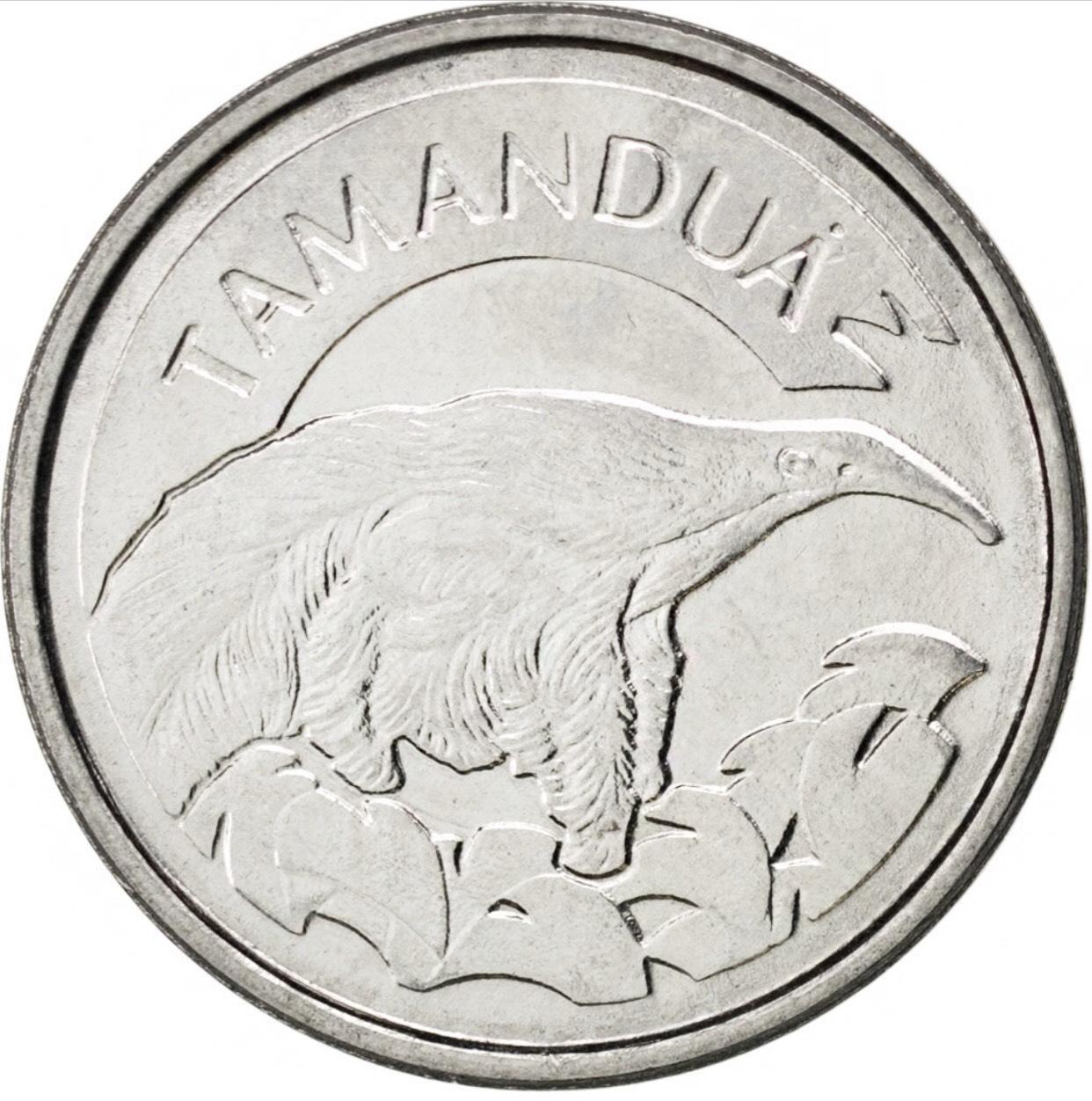 Đồng xu Brazil 10 centavos Chồn hôi Tamandua đặc trưng, [MỚI CỨNG, ĐẸP] sưu tầm 22mm