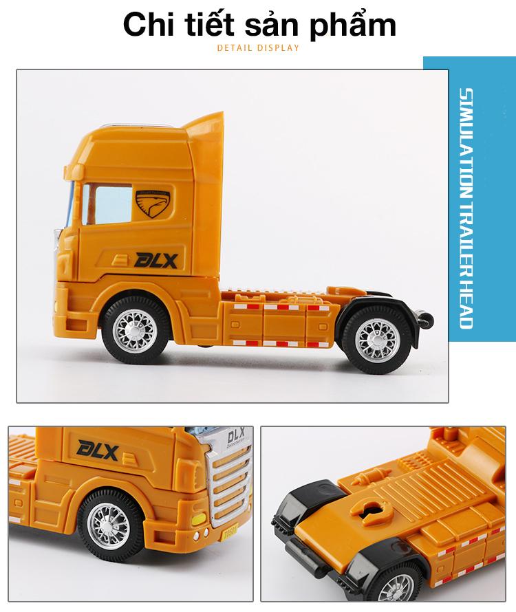 Xe đồ chơi đầu kéo vận chuyển gỗ KAVY, nhựa ABS an toàn, kích thước lớn