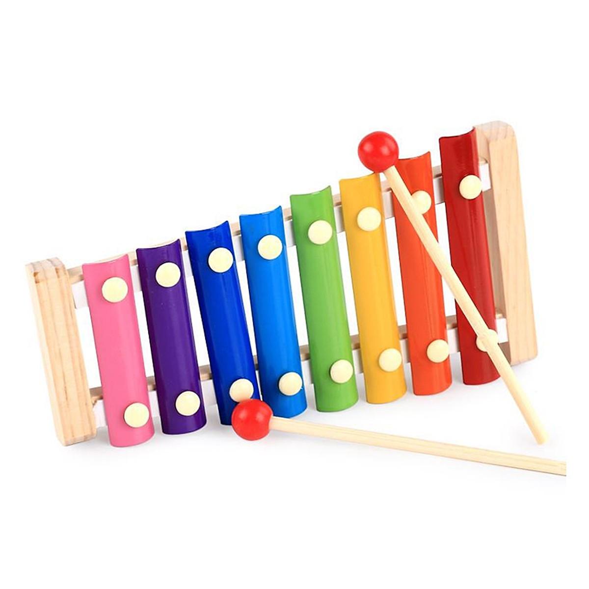 Bộ đồ chơi gỗ đa năng cho bé gồm đàn gỗ, sâu gỗ, tháp cầu vồng, luồn hạt GT