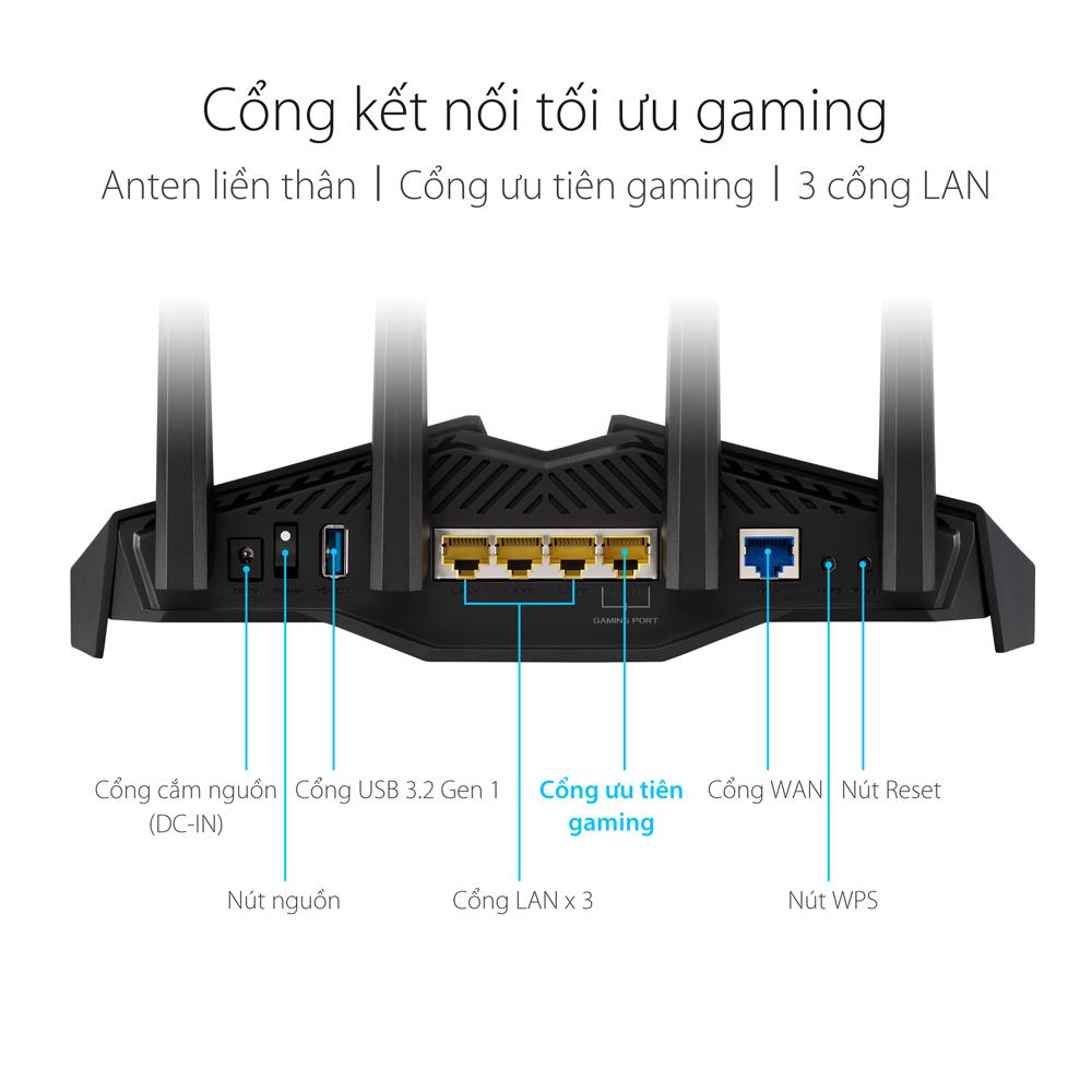 Router Wifi ASUS AURA RGB RT-AX82U Hai Băng Tần, Chuẩn AX5400 (Chuyên Cho Game Di Động)- Hàng Chính Hãng