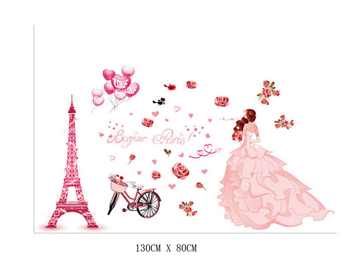 Decal dán từơng cô dâu hồng xl8265