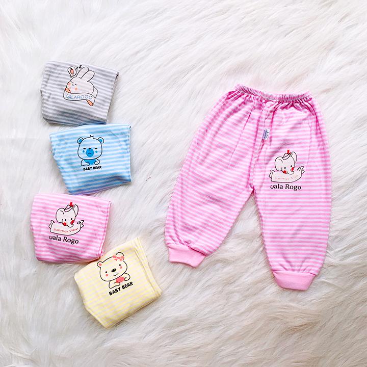 Quần dài nỉ cotton kẻ hình thú cho bé trai và bé gái 4-15kg chất vải dày đẹp mềm mát co giãn thoải mái giữ ấm tốt – QVN006