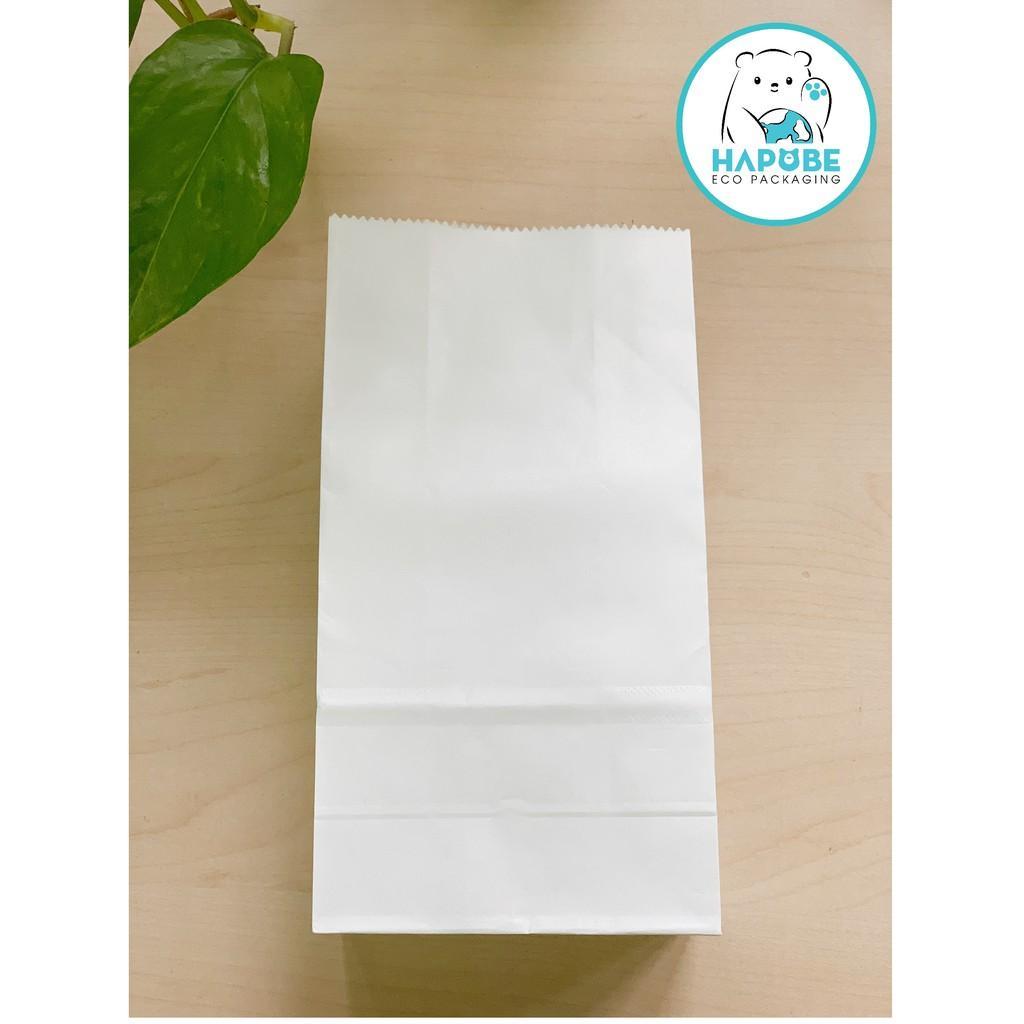 100 túi giấy Kraft nhật không quai đựng thức ăn, đựng hàng 9x5.5x17cm màu trắng