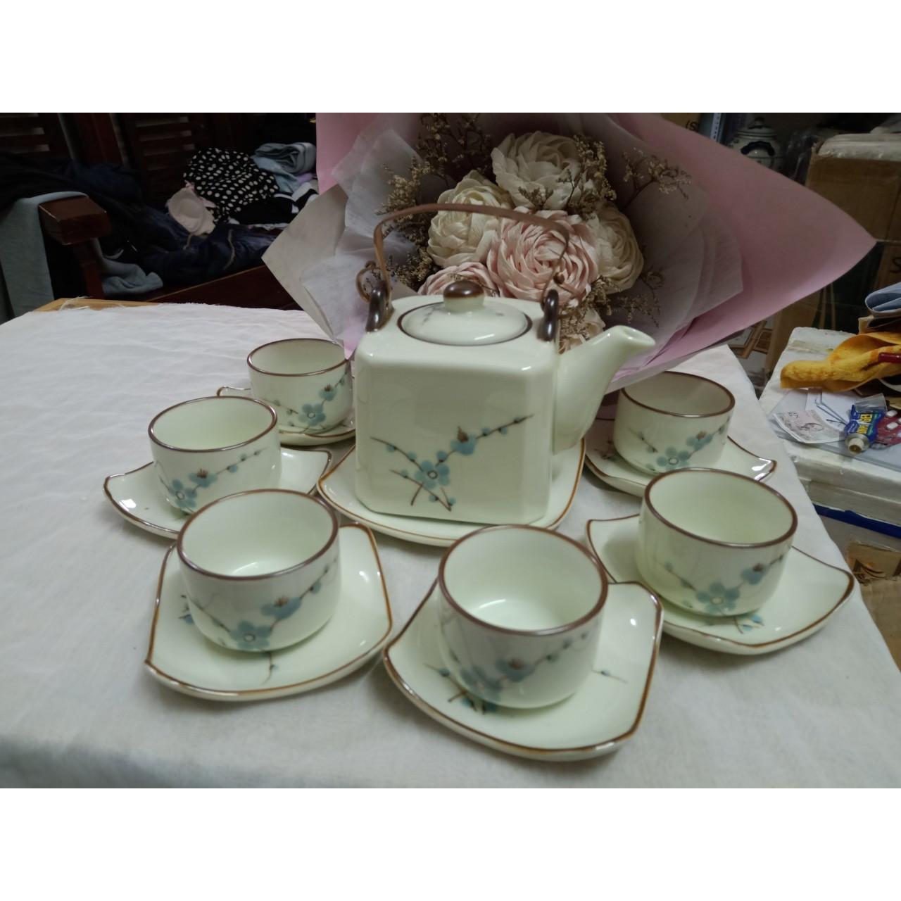 Bộ ấm chén men kem vẽ hoa đào xanh gốm sứ Bát Tràng
