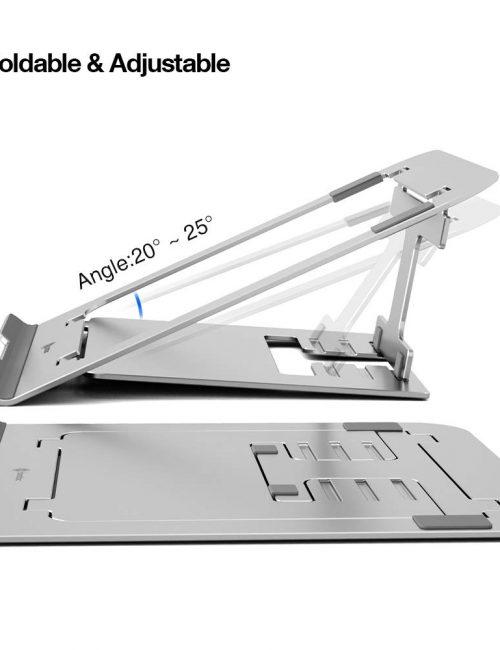 Đế tản nhiệt cơ động TOMTOC (USA) alumium foldable dành cho ipad, macbook và another tablet, laptop 11″-15.6inch (silver) B4-002S  - Hàng Chính Hãng