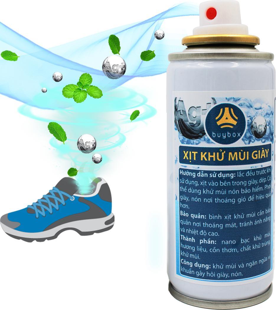 Xịt khử mùi giày ngăn ngừa vi khuẩn và ngăn mùi hôi, mùi khắm giày - buybox - PKBB61