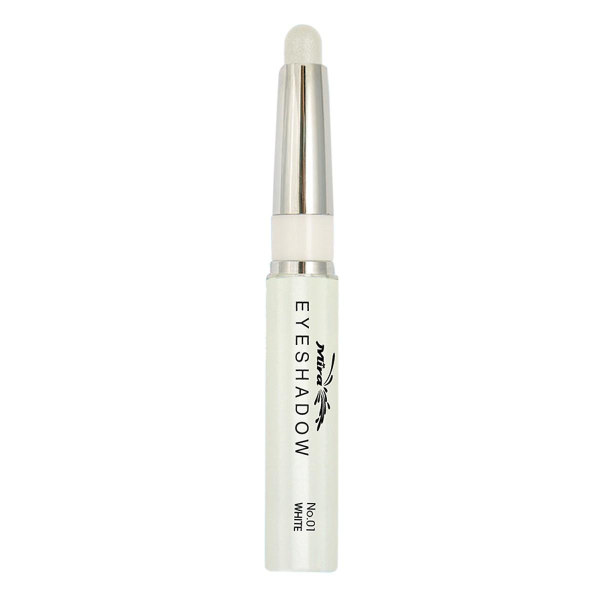 Bút sáp kẻ mắt nhiều màu nhũ bạc Mira Eyeshadow Hàn Quốc 1.5g No.1 Màu trắng tặng kèm móc khoá