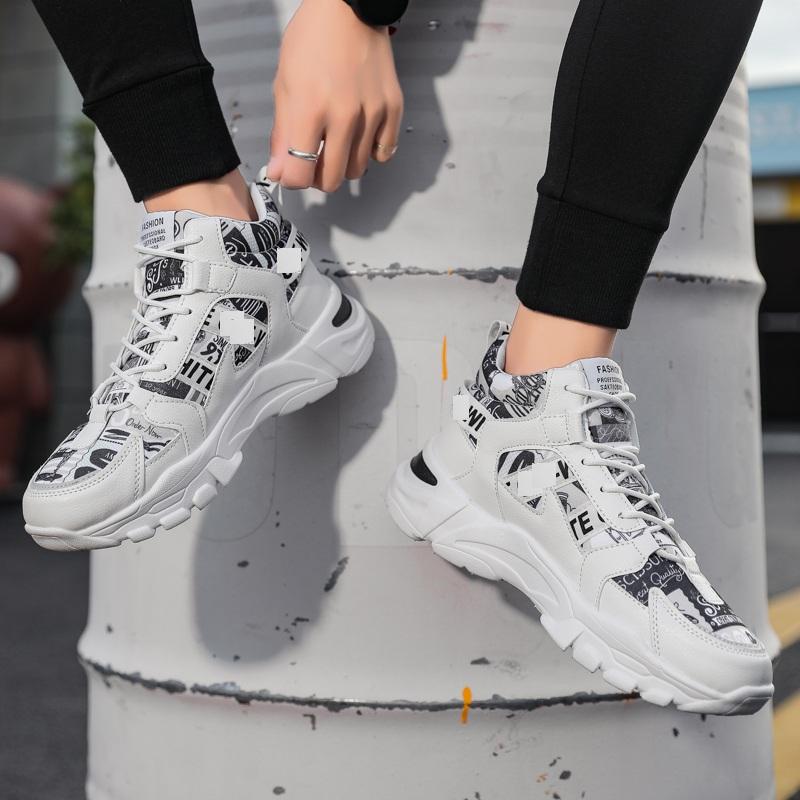 Giày thể thao nam cổ cao, giày bốt nam phối chữ phong cách mới trẻ trung, hiện đại QA - 380