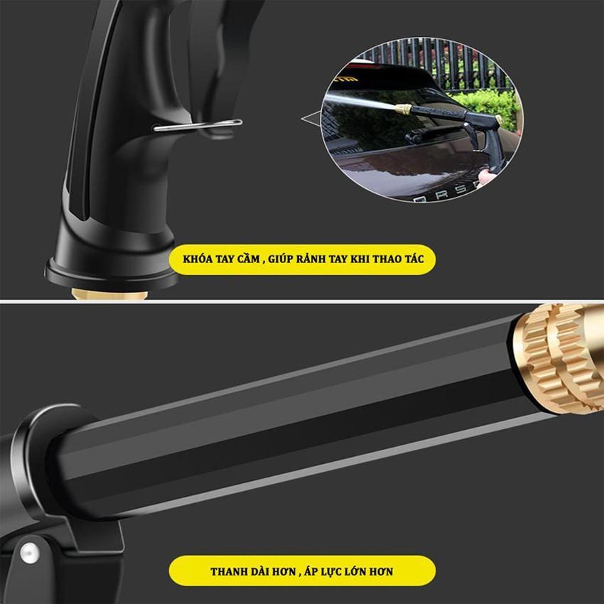 Bộ dây và vòi xịt rửa xe tưới cây tăng áp,vòi xịt rửa,vòi tưới cây 810-2498 (dây vàng- cút nối xanh)