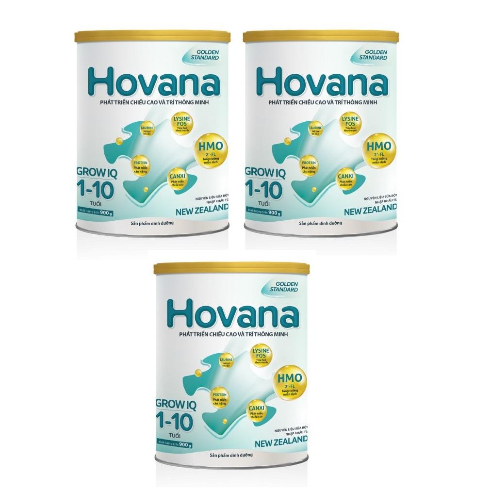 Bộ 3 Lon Sữa Bột Hovana Grow IQ 900gr Hỗ trợ tiêu hóa tốt, tăng miễn dịch, tăng cân tự nhiên cho bé 1 đến 10 tuổi
