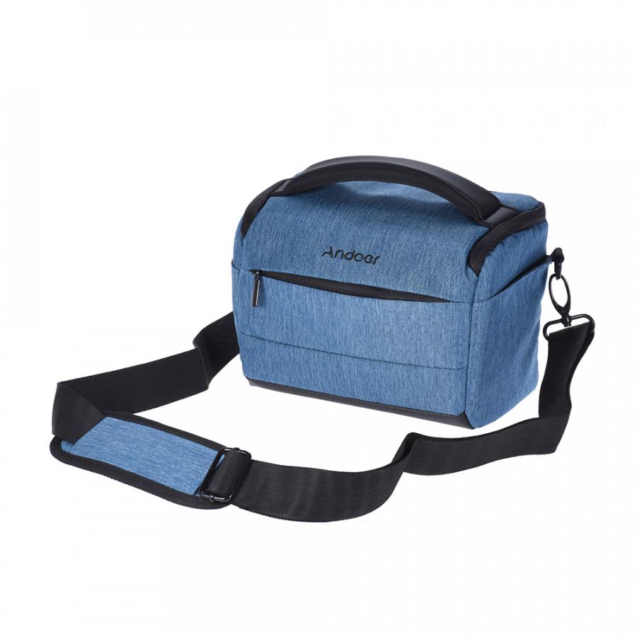 Andoer Cuboid -shaped DSLR Camera Shoulder Bag Portable Fashion Polyester Camera Case for 1 Camera 2 Lenses and Small - Blue