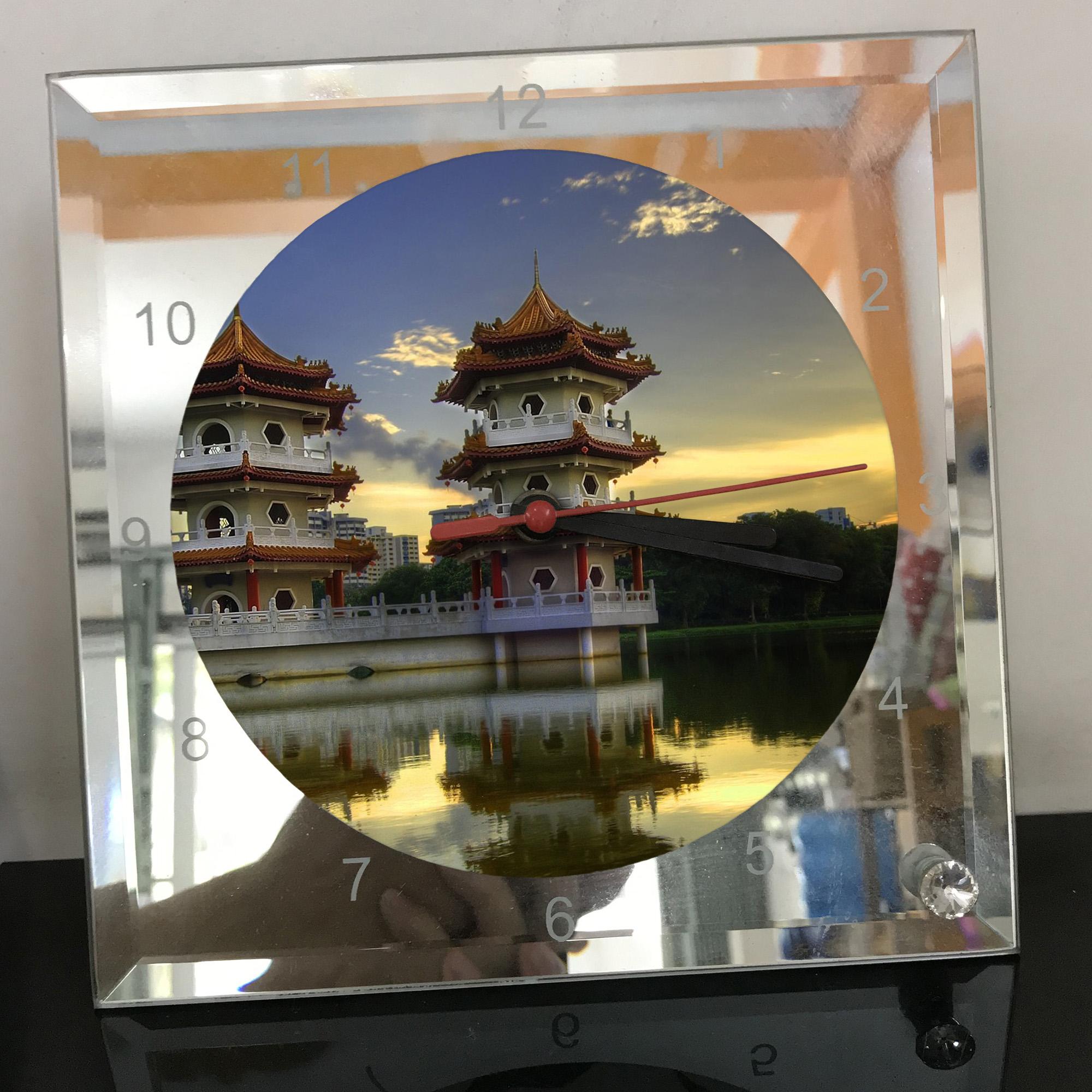Đồng hồ thủy tinh vuông 20x20 in hình Temple - đền thờ (12) . Đồng hồ thủy tinh để bàn trang trí đẹp chủ đề tôn giáo