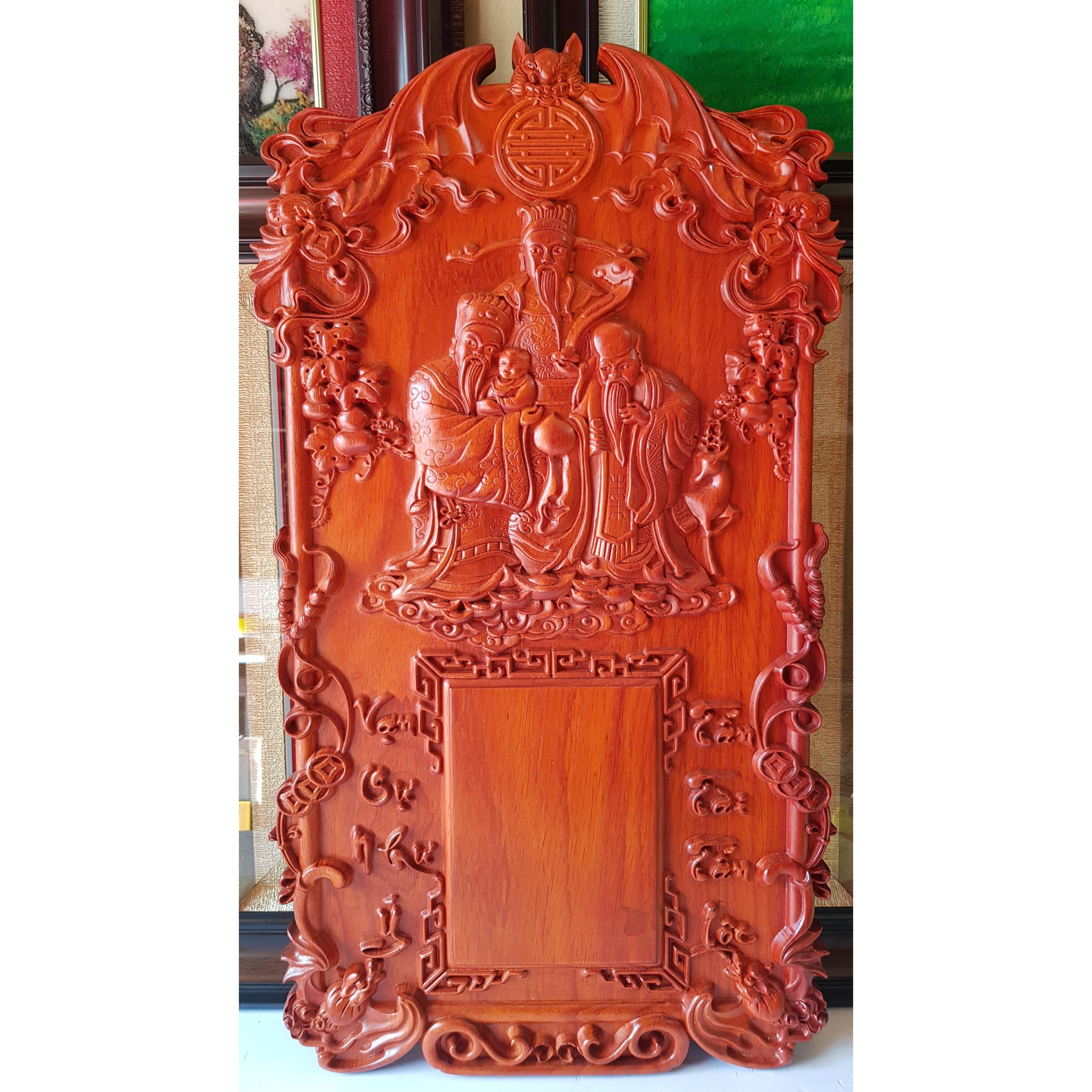 Tranh gỗ hương liền khối đục nổi nghệ thuật-Phúc Lộc Thọ-tg094