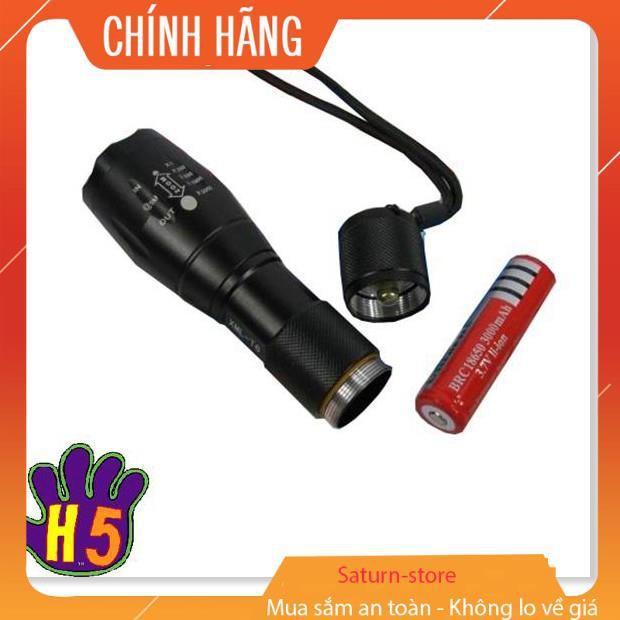 Đèn pin siêu sáng, Đen bin sieu sang, Đèn pin chống nước siêu sáng XML-16 cao cấp Tặng kèm ngay 1 Pin, 1 Đốc sạc, 1 đốc