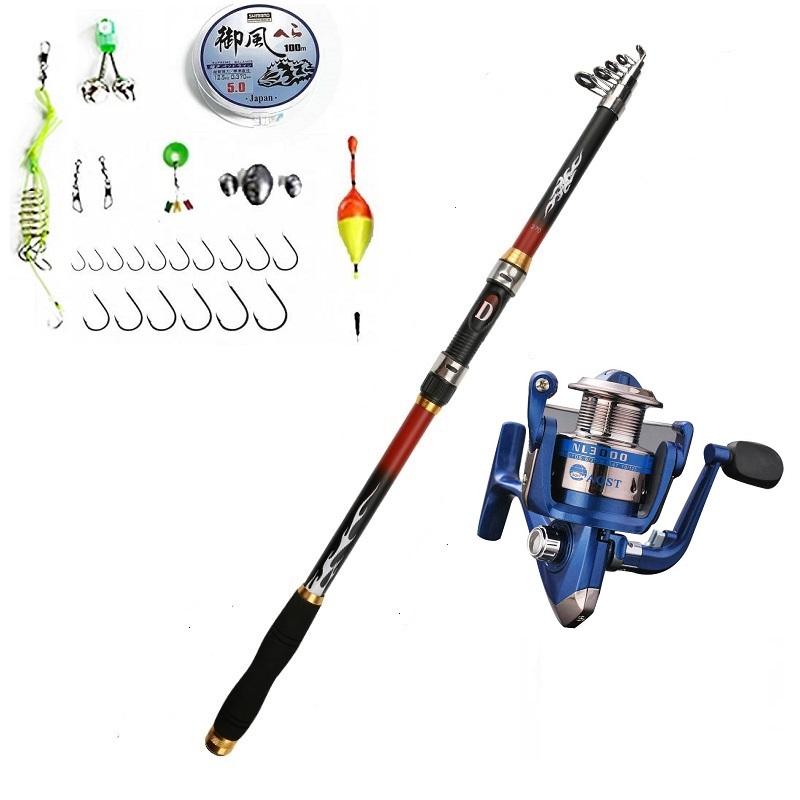 Bộ cần câu carbon - Cần câu cá Kèm máy NL3000  Máy 4000 - Tặng kèm 8 phụ kiện CM61