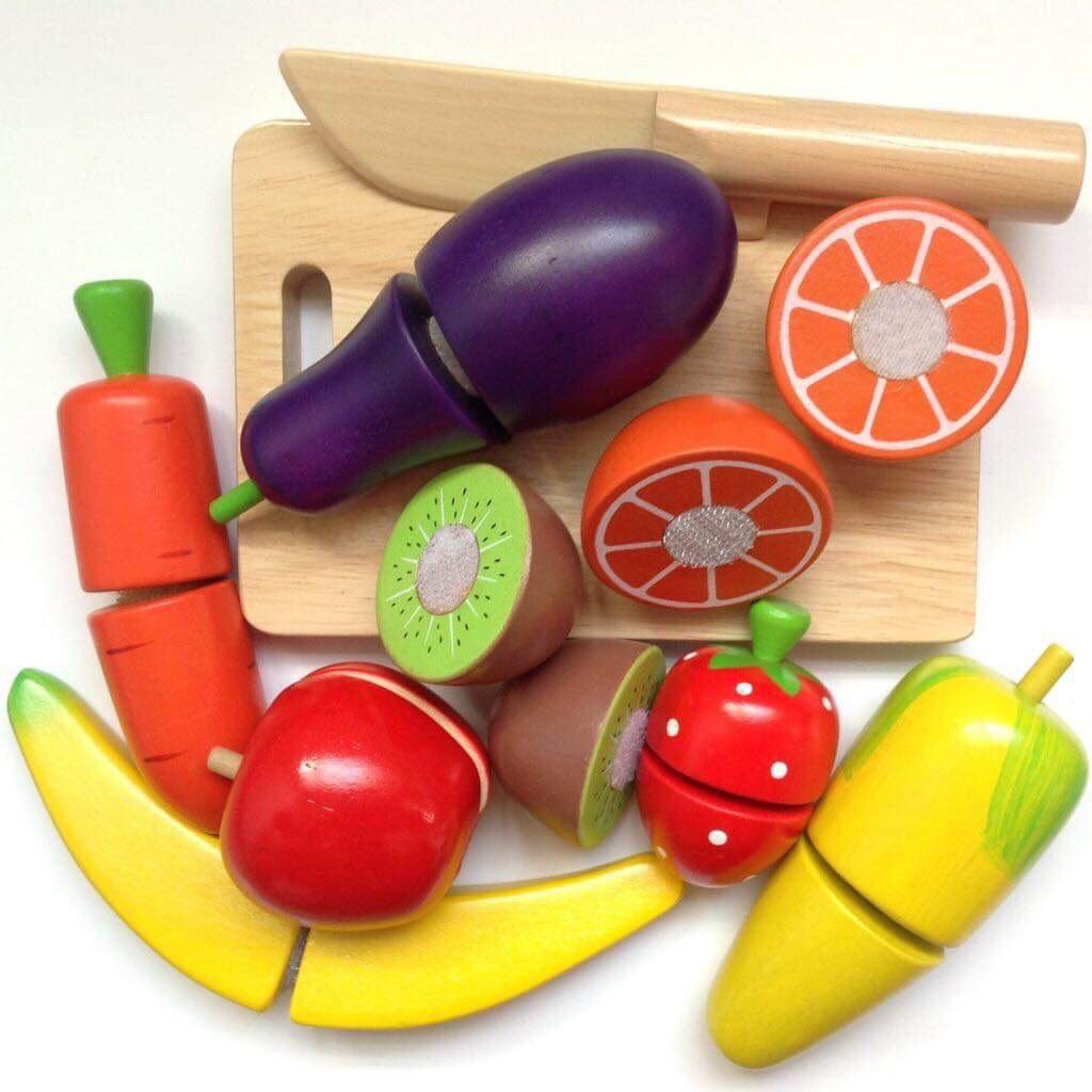 Đồ Chơi Thực Hành Cắt Rau Củ Quả 10 Món Bằng Gỗ Cao Cấp - Montessori