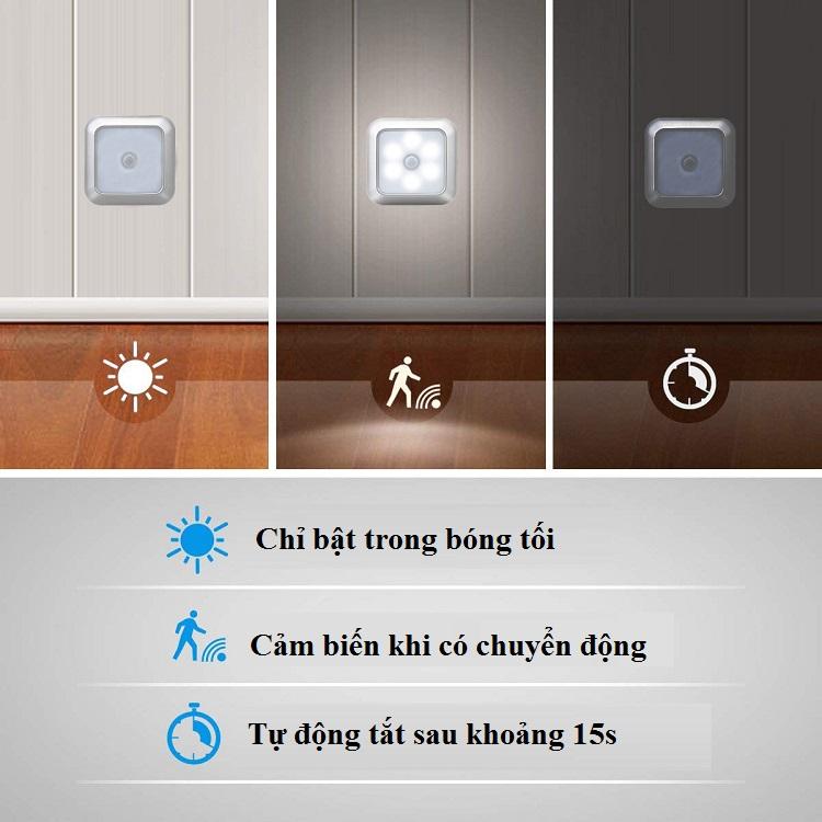 Đèn Led Dán Tủ Mini Hình Vuông V.2 Siêu Tiện Lợi