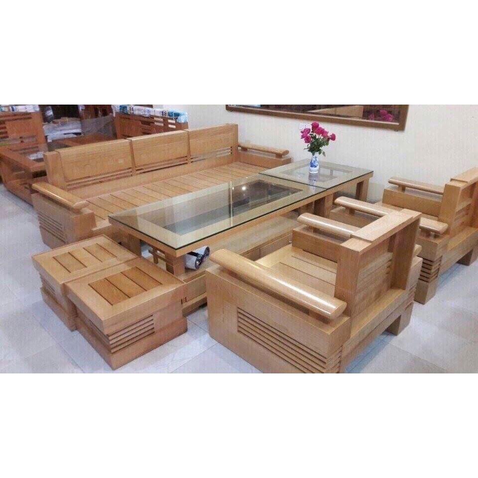 Bộ salon gỗ sồi đức  7 món MS 11.9