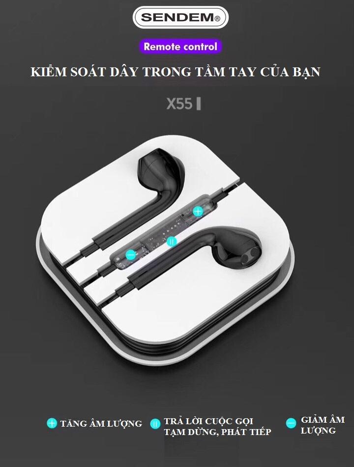 Tai nghe nhét tai SENDEM X55 Jack tròn 3,5mm Âm thanh siêu âm - Bass cực hay - Hàng chính hãng