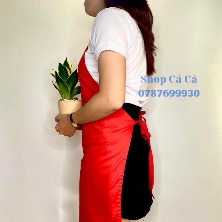 Tạp dề Kaki màu đỏ tươi dành cho Nam Nữ Phục Vụ, đầu bếp