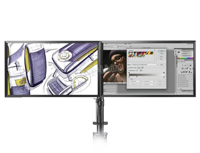 Giá đỡ 2 màn hình Máy Tính Kẹp Bàn, chuyển động Đầy Đủ 360 độ cho màn Hình 10-27inch, tải trọng đến 9,9kg