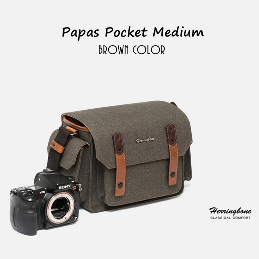 Túi máy ảnh Herringbone Papaspocket 3 Medium - Brown color