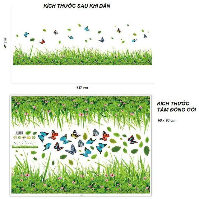 Decal dán chân tường cỏ xanh và bướm - HP558