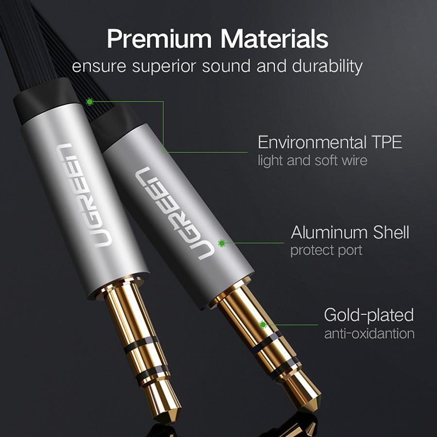 Cáp AV 3.5mm Male To 3.5mm Male Ugreen AV119 10723 (0.5m) - Đen - Hàng Chính Hãng