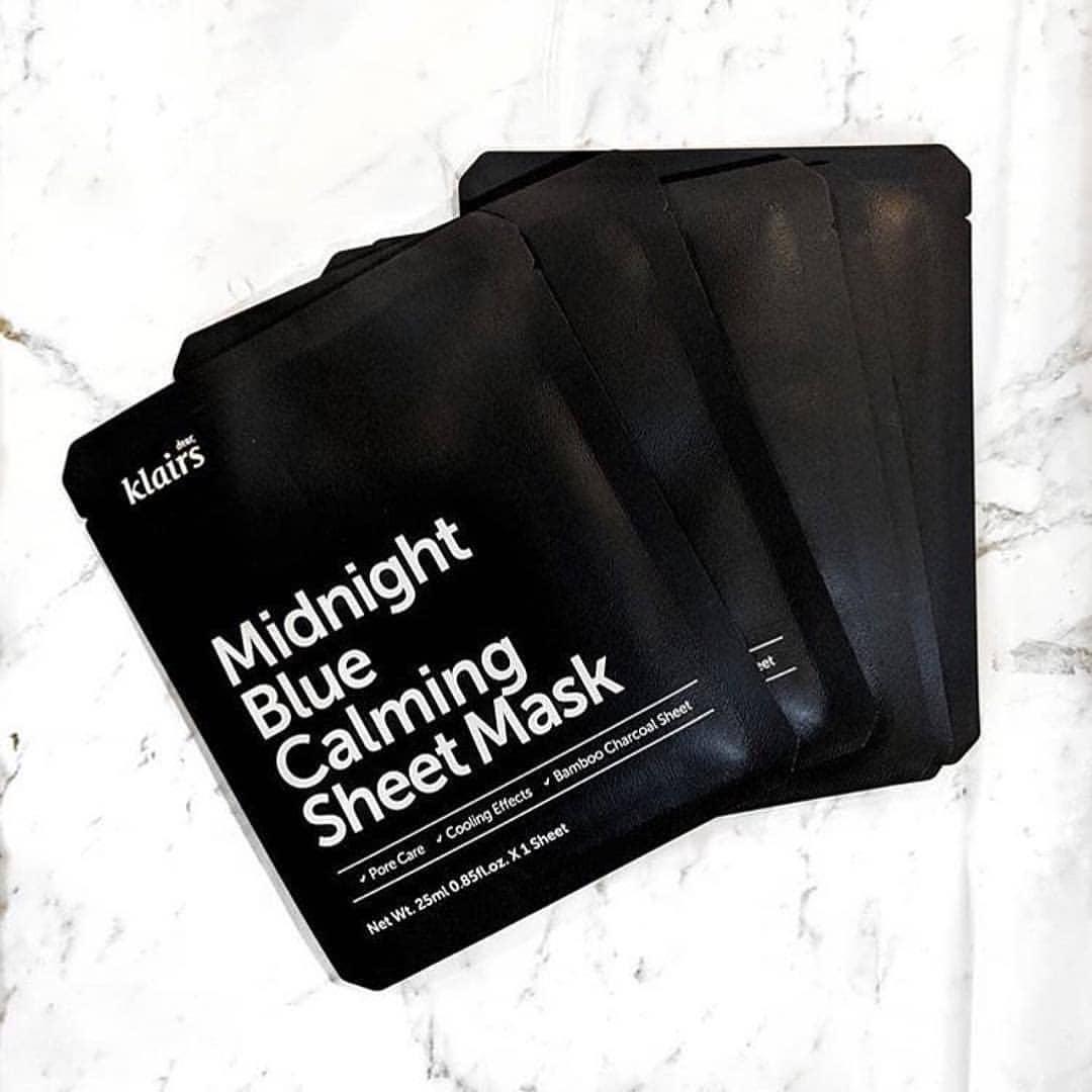 Combo 5 Mặt nạ dưỡng ẩm, làm dịu cho da nhạy cảm, kích ứng Klairs Midnight Blue Calming Sheet Mask 25ml x5